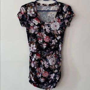 Black floral t shirt with ruching
